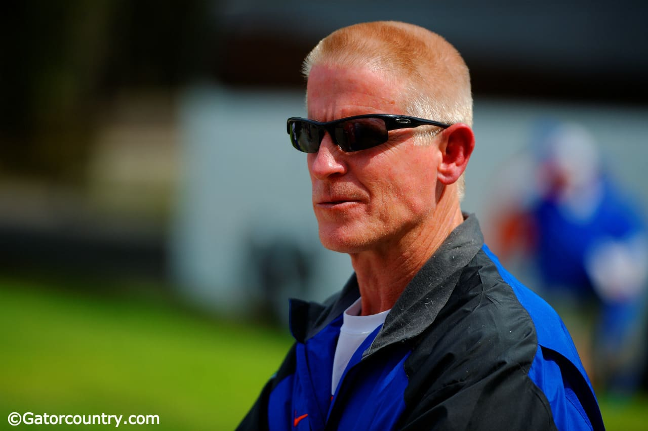 University of Florida strength coach Mike Kent watches the Florida Gators go through a practice during spring camp in 2015- Florida Gators football- 1280x852