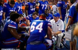 University of Florida offensive line coach Mike Summers works with his unit during Florida's win over New Mexico State- Florida Gators football- 1280x854