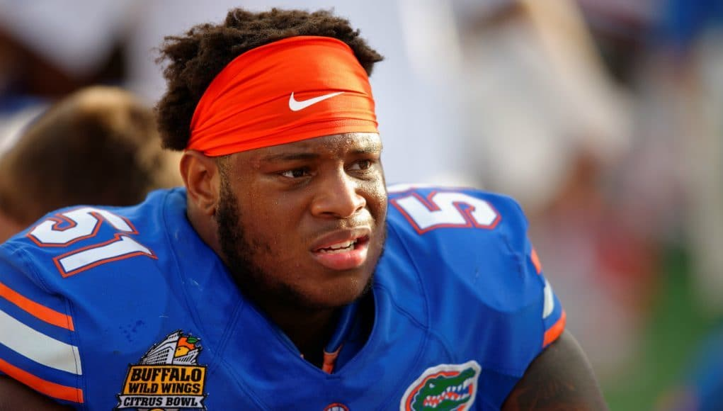 University of Florida offensive lineman Antonio Riles watches from the sideline during the 2016 Buffalo Wild Wings Citrus Bowl- Florida Gators football- 1280x852