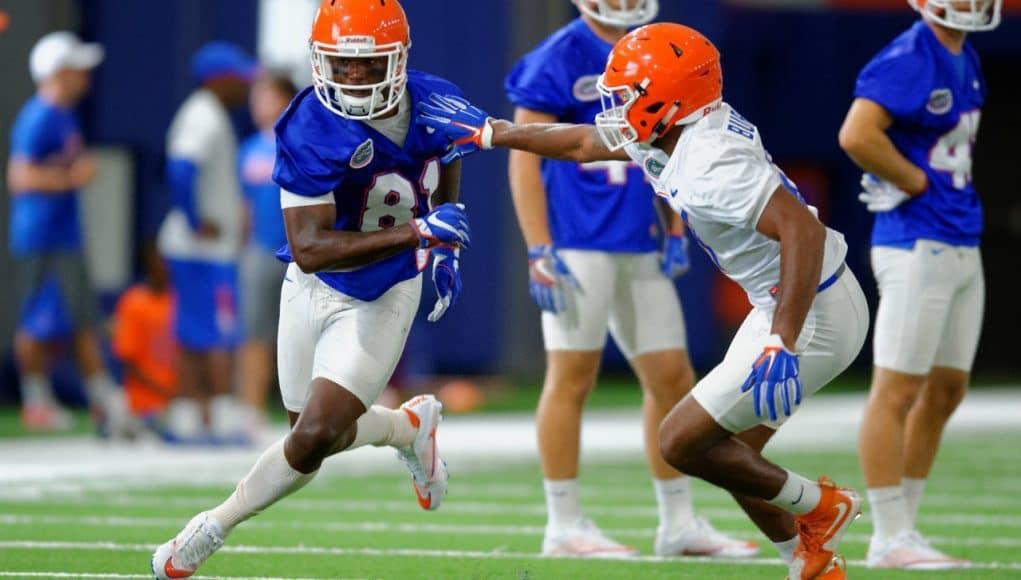 University of Florida receiver Antonio Callaway runs a route against McArthur Burnett in the second practice of fall camp- Florida Gators football- 1280x833