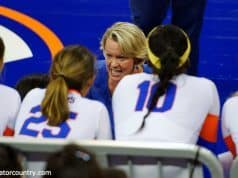 University of Florida volleyball coach Mary Wise coaches her team in a 2015 matchup against the Florida State Seminoles- Florida Gators volleyball- 1280x852