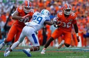 Florida Gators RB Jordan Cronkrite runs against Kentucky in 2016- 1280x853