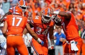 Florida Gators defense celebrates against Kentucky- 1280x853