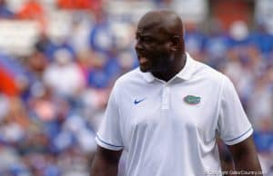 Florida Gators defensive line coach Chris Rumph during the Gators win over kentucky - GatorCountry photo taken by David Bowie