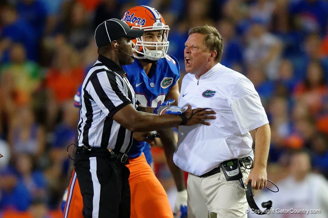 Florida-gators-head-coach-jim-mcelwain-upset-over-the-hit-on-luke-del-rio