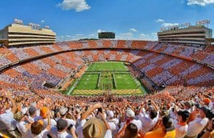 Sep 24 2016; Knoxville TN USA; General view of the Tennessee Volunteers running through the T before the game against the Florida Gators at Neyland Stadium