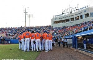 The University of Florida baseball team huddles up before a game against Florida State on 3-15-2016- Florida Gators baseball- 1280x852