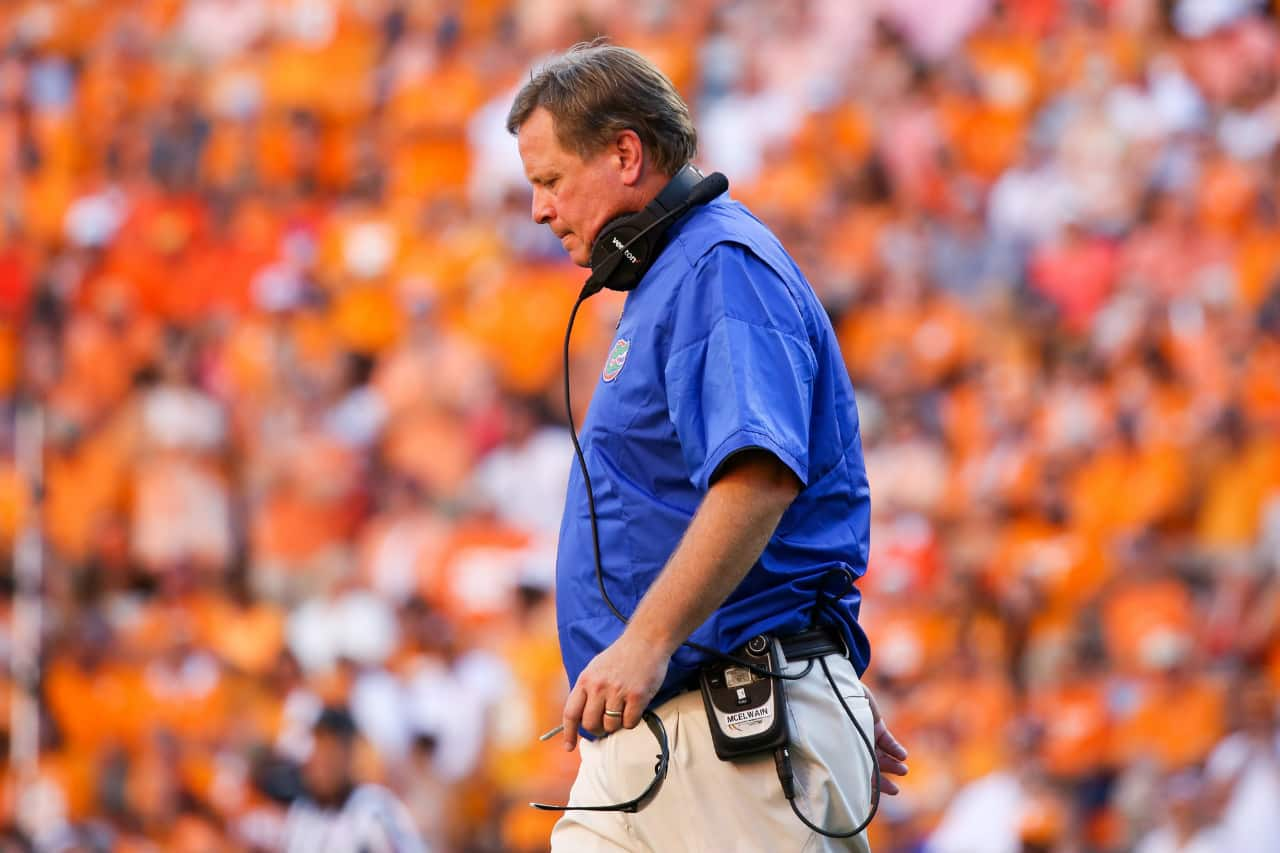 Sep 24, 2016; Knoxville, TN, USA; Florida Gators head coach Jim McElwain during the second half against the Tennessee Volunteers at Neyland Stadium. Tennessee won 38-28. Mandatory Credit: Randy Sartin-USA TODAY Sports