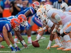 University of Florida's defensive line stacks up against the Tennessee Volunteers in a 28-27 win over Tennessee in 2015- Florida Gators football- 1280x852