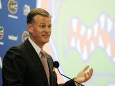 University of Florida Athletic Director Scott Stricklin addresses the media during his introductory press conference- Florida Gators football- 1280x852