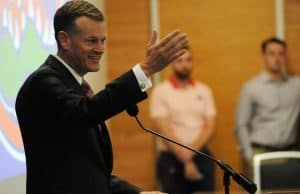 University of Florida Athletic Director Scott Stricklin speaks during his introductory press conference- Florida Gators football- 1280x852