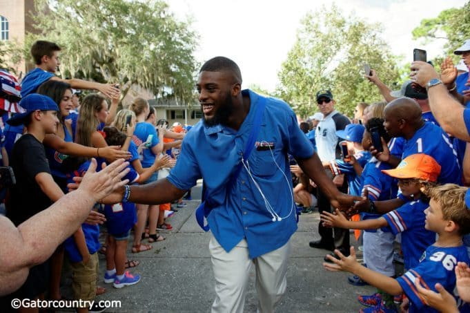 University of Florida linebacker Jarrad Davis greets fans during Gator Walk prior to the first game off the 2016 season against UMass- Florida Gators football- 1280x852