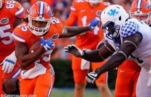 University of Florida running back Jordan Scarlett carries the ball in a 45-7 win over the Kentucky Wildcats- Florida Gators football- 1280x852