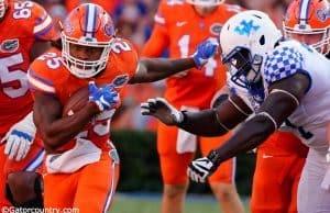 University of Florida running back Jordan Scarlett carries the ball in a 45-7 win over the Kentucky Wildcats- Florida Gators football- 1280x852