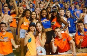 Florida Gators fans cheer during the Gators homecoming game- 1280x853