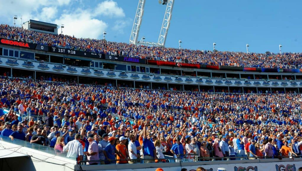 Florida Gators fans in Jacksonville in 2015 for the UGA game- 1280x853
