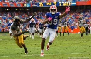Florida Gators receiver Tyrie Cleveland scores his first touchdown against Missouri- 1280x855