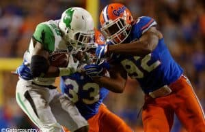 University of Florida redshirt freshman Jabari Zuniga makes a tackle in a win over North Texas- Florida Gators football- 1280x852