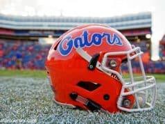 A Florida Gators helmet sits on Florida Field following the Florida Gators win over the Kentucky Wildcats in 2016- Florida Gators football- 1280x854