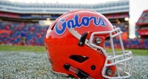 A Florida Gators helmet sits on Florida Field following the Florida Gators win over the Kentucky Wildcats in 2016- Florida Gators football- 1280x854