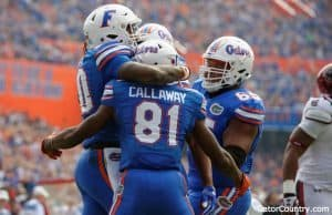 Florida Gators celebrate a touchdown against South Carolina- 1280x852