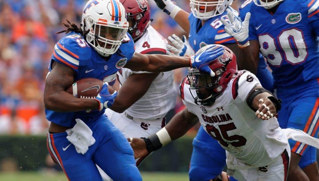 Florida Gators running back Jordan Scarlett runs against South Carolina on Saturday- 1280x853