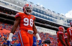 University of Florida defensive end CeCe Jefferson warms up before the Florida Gators game against Kentucky in 2016- Florida Gators football- 1280x852