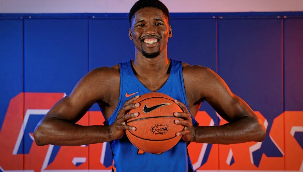University of Florida forward Kevarrius Hayes poses during media day- Florida Gators basketball- 1280x852