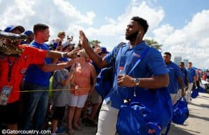 University of Florida offensive lineman Martez Ivey greets fans during Gator Walk before the Georgia game- Florida Gators football- 1280x852