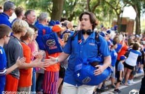 University of Florida offensive lineman Tyler Jordan greets fans during Gator Walk before the UMass game- Florida Gators football- 1280x854