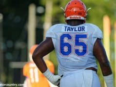 University of Florida offensive tackle Jawaan Taylor during fall camp- Florida Gators football- 1280x852