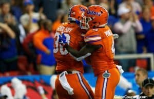 Florida Gators celebrate after scoring in the SEC Championship- 1280x853
