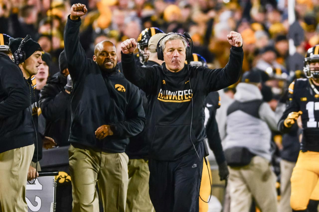 Nov 25, 2016; Iowa City, IA, USA; Iowa Hawkeyes head coach Kirk Ferentz celebrates during the fourth quarter against the Nebraska Cornhuskers at Kinnick Stadium. Iowa won 40-10 and secured the Heroes Game trophy. Mandatory Credit: Jeffrey Becker-USA TODAY Sports