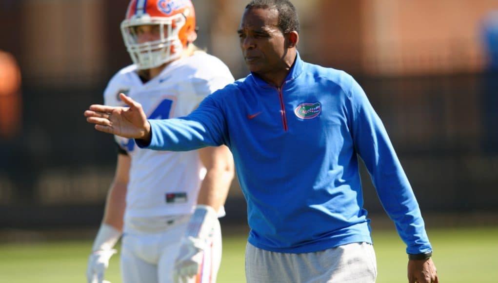 University of Florida defensive coordinator Randy Shannon works with the Florida Gators linebacker during spring practice- Florida Gators football- 1280x852