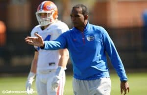 University of Florida defensive coordinator Randy Shannon works with the Florida Gators linebacker during spring practice- Florida Gators football- 1280x852