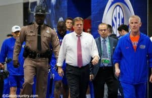 University of Florida head coach Jim McElwain leads the Florida Gators out for their final practice before the SEC Championship- Florida Gators football- 1280x852
