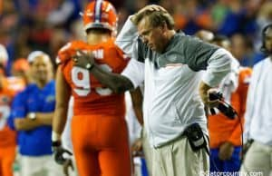 University of Florida head coach Jim McElwain reacts to Taven Bryan being ejected from the SEC Championship game.- Florida Gators football- 1280x852