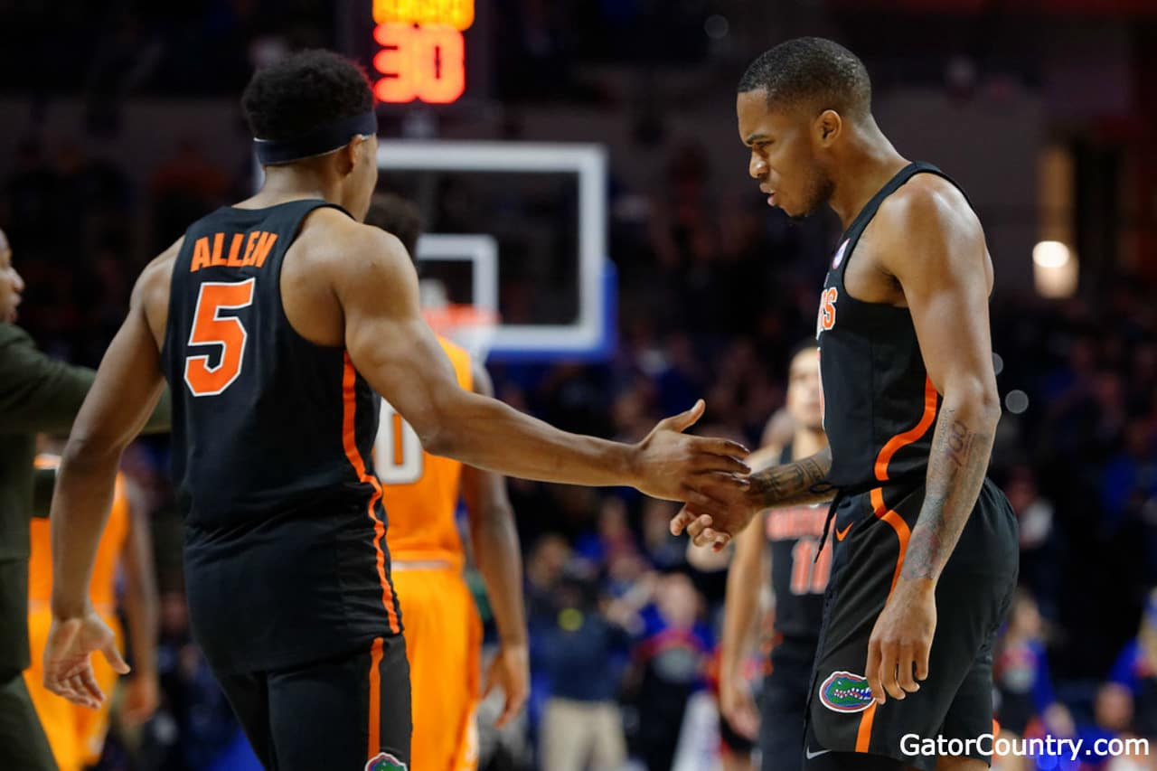 Florida-gators-basketball-guard-kevaughn-allen-and-kasey-hill-against-tennessee