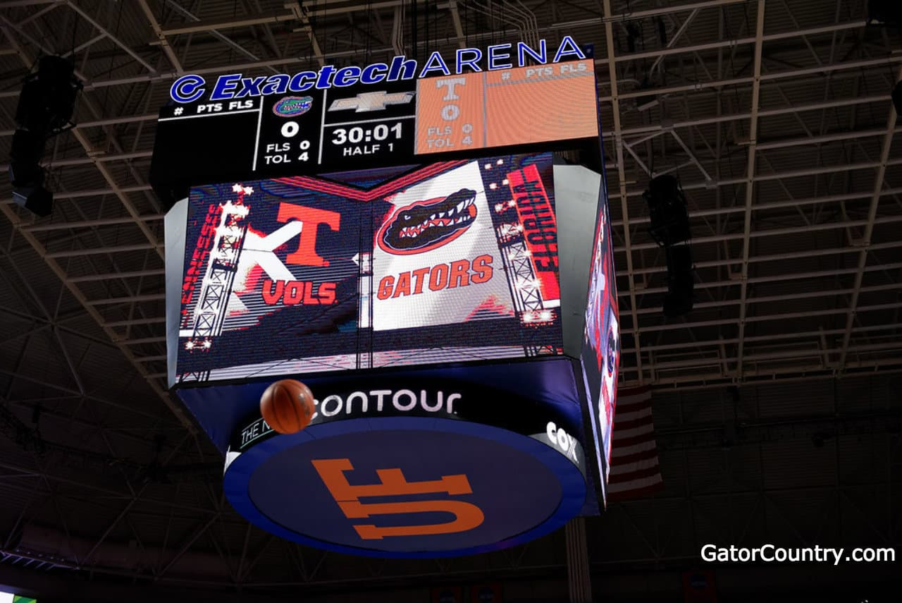 Florida Gators basketball scoreboard for the Exactech Arena- 1280x855