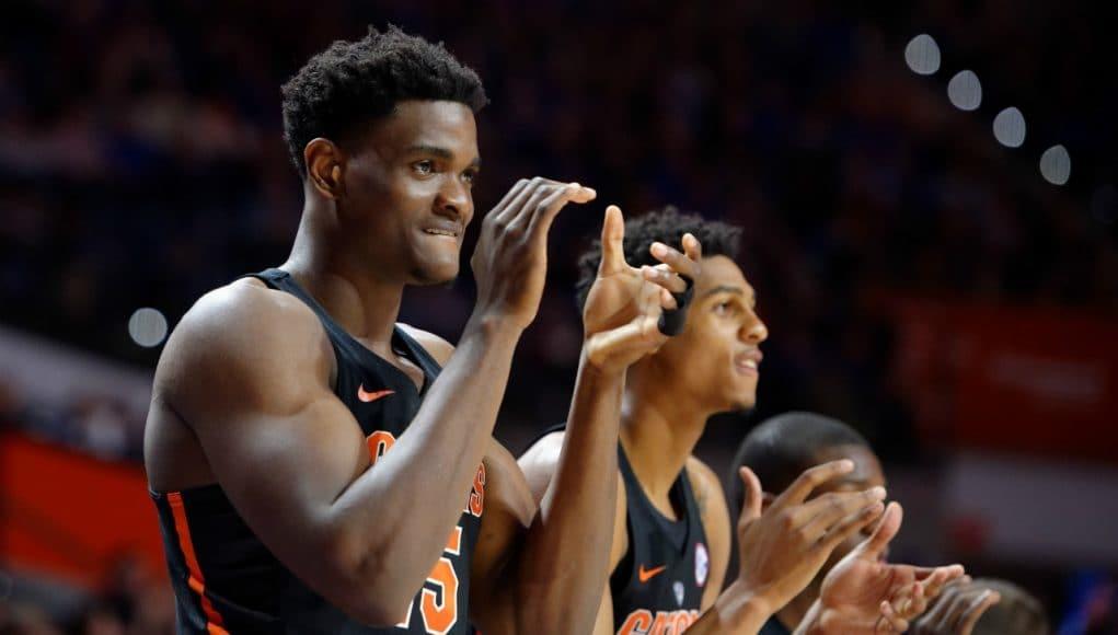 University of Florida center John Egbunu cheers on his teammates during a win over the Tennessee Volunteers- Florida Gators basketball- 1280x852
