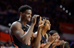 University of Florida center John Egbunu cheers on his teammates during a win over the Tennessee Volunteers- Florida Gators basketball- 1280x852