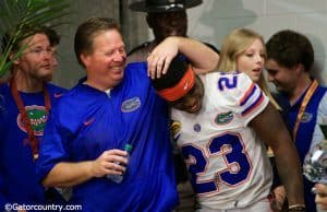 University of Florida head coach Jim McElwain and defensive back Chauncey Gardner share a moment after the Outback Bowl- Florida Gators- 1280x854