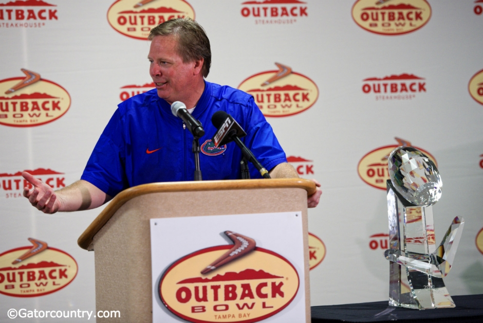 University of Florida head coach Jim McElwain speaks with reporters after the Florida Gators 30-3 Outback bowl win over Iowa- Florida Gators football -1280x855