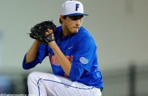 University of Florida pitcher Alex Faedo delivers to the plate in a Regional win over the Georgia Tech Yellow Jackets- Florida Gators baseball- 1280x852