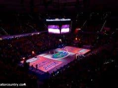 A pre-game light show boasting the Florida Gators men's basketball teams two National Championships prior to beating Kentucky- Florida Gators basketball- 1280x854
