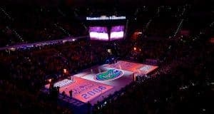 A pre-game light show boasting the Florida Gators men's basketball teams two National Championships prior to beating Kentucky- Florida Gators basketball- 1280x854