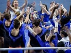 Florida Gators gymnastics team celebrates a win- 1280x853
