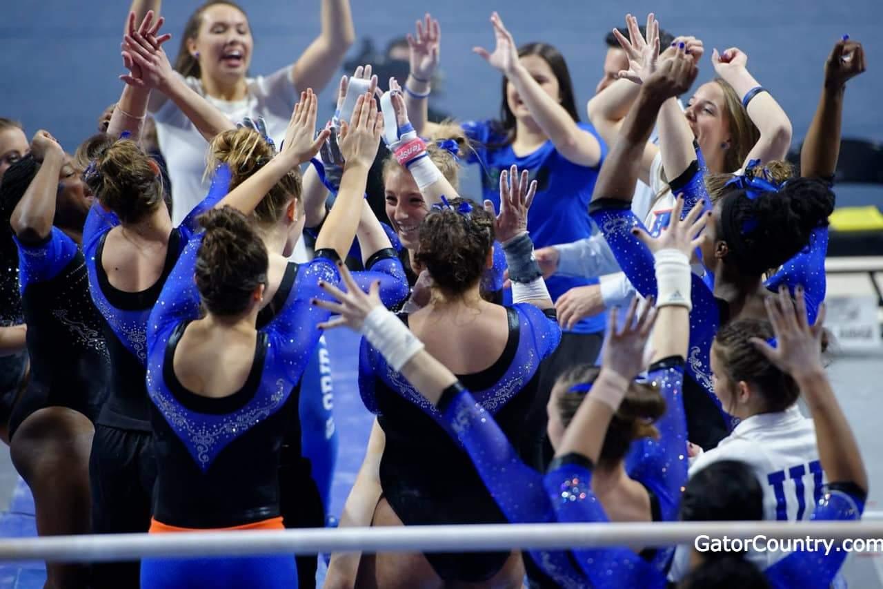 Florida Gators gymnastics team celebrates a win- 1280x853