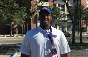 OL William Barnes enjoyed his first meeting with new Florida Gators OL coach Brad Davis 1280-960