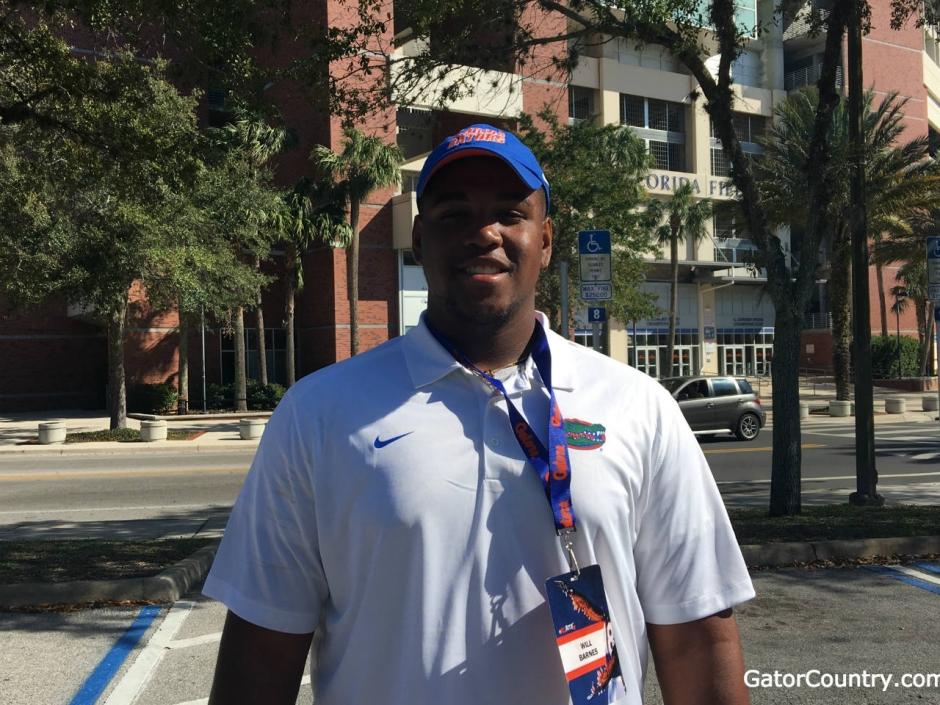 OL William Barnes enjoyed his first meeting with new Florida Gators OL coach Brad Davis 1280-960